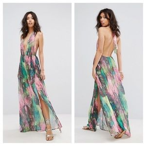   NWT   Multicolor Snake Print Plunge Maxi Dress